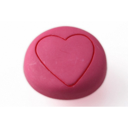 BOUTON ROND COEUR ROSE