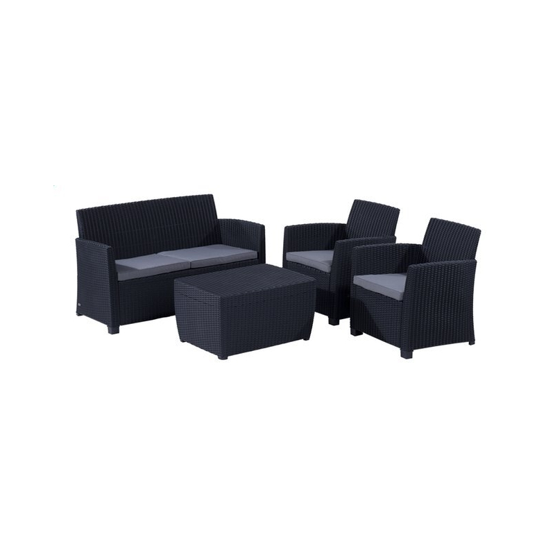 Salon de jardin Lounge wicker ALLIBERT Corona gris anthracit - Tecniba