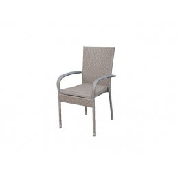 CHAISE ACIER WICKER GRIS...